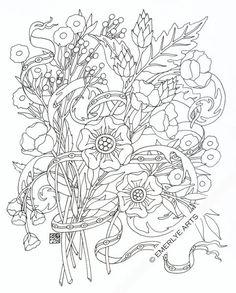 Printable Coloring Page Italian Bouquet par emerlyearts sur Etsy
