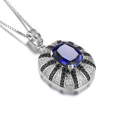 6ct Blue Sapphire Pendant | $75.00 | Free shipping on all orders #ss #sapphire #necklace