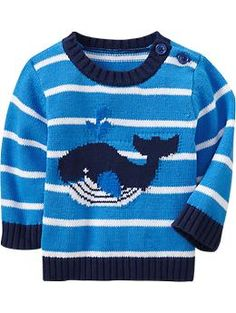 Crew-Neck Whale Sweater- 6-12 months
