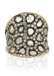 L' Dezen Jewellery De Bal Rose Gold Slice Diamond & White Diamond Ring