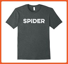Mens Spider T-Shirt Distressed retro word design Large Dark Heather - Retro shirts (*Partner-Link)