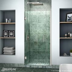 """DreamLine SHDR-20357210 Unidoor 72"""" High x 36"""" Wide Hinged Frameless Shower Door Brushed Nickel Showers Shower Doors Swing"""