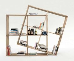 multipurpose furniture — X2 Bookcase features interlocking wooden slots...