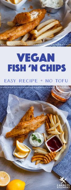 Vegan Fish & Chips Perfectly golden and crisp Vegan Fish & Chips made with banana blossoms for the perfect texture. Vegan comfort food at it& finest! Perfect recipe for dinner or date night! Vegan Junk Food, Vegan Comfort Food, Vegan Foods, Vegan Meals, Comfort Foods, Meat Recipes For Dinner, Whole Food Recipes, Vegetarian Recipes, Healthy Recipes