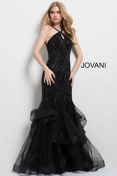 8bf733520cc Black Embellished High Neck Mermaid Gown  48732  JOVANI  Fall2017  fashion  Prom Dresses