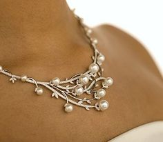 Budding Necklace  Diamond Pearl Necklace by eddie