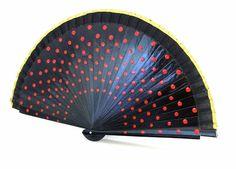 Handfächer - Handfächer,Fächer,schwarz,rot,Punkte,Polkadots - ein Designerstück von Faecher-Sprache bei DaWanda