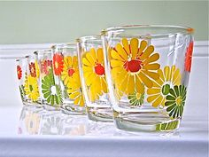 Vintage Flower Power Sour Cream glasses. 1960s I only have 3 currently