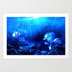 Underwater meeting Art Print by Thomas Majevsky - $15.00