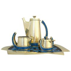 Salvador Teran Modernist Tea Service | From a unique collection of antique and modern tea sets at https://www.1stdibs.com/furniture/dining-entertaining/tea-sets/