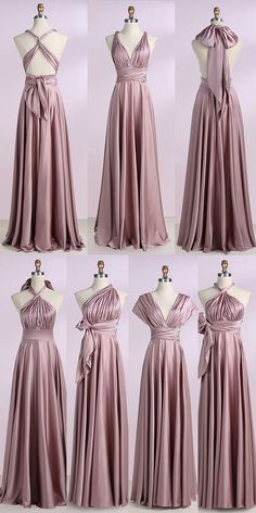 cheap prom dresses, v neck prom dresses, blush prom dresses, long prom dresses, simple bridesmaid dresses, multi wear prom dresses @dresstell