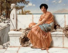 By John William Godward. English, Oil on canvas. A young woman relaxes on a marble bench in this painting by John William Godward. Godward liked to paint portraits of women in setting t John William Godward, Lawrence Alma Tadema, Alfred Stevens, Rome Antique, Getty Museum, Pre Raphaelite, Ancient Greece, Oeuvre D'art, Art History
