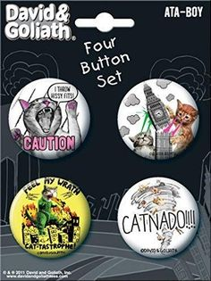 Ata-Boy David and Goliath Cats Gone Wild 4 Button Set