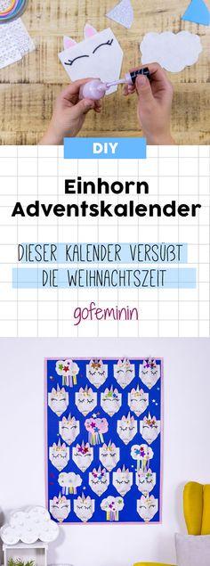 DIY Bastel-Anleitung mit Schablone zum Download: Dieser Einhorn Adventskalender verzaubert alle!