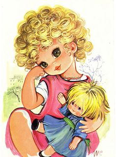 Look at my lovely Curls - Postcard Vintage of a Big Eyed Girl with her Dollie | by PrettyPostcards