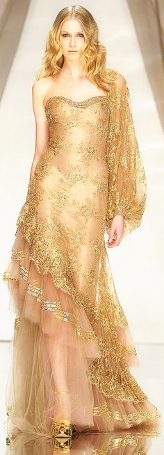 Minus the sleeve, perfect ✜ Abed Mahfouz - Couture - Spring-Summer 2008 Abed Mahfouz, Beauty And Fashion, Runway Fashion, Gold Fashion, High Fashion, Women's Fashion, Fashion Design, Beautiful Gowns, Beautiful Outfits