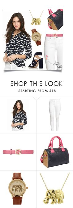 """""""Elephant March"""" by amistric on Polyvore featuring H&M, Gucci, Loungefly, Forever 21, Jennifer Meyer Jewelry, Gianvito Rossi and elephant"""