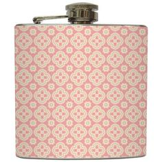 """Liquid Courage Flasks: """"Persian Pickles"""" - Light Pink Moroccan Pattern Flask"""