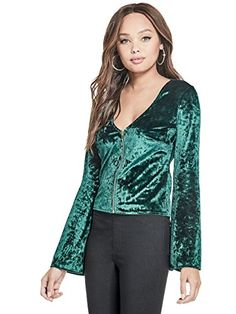 085feb60c14c8 Women s Paloma Velvet Long-Sleeve Low-Cut Front-Zip Top Vogue Wallpaper