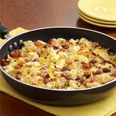 egg scramble with beans, chilis and cheese.