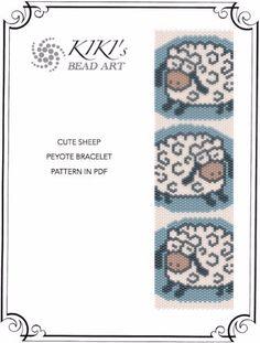 Pattern peyote bracelet Cute sheep peyote von KikisBeadArts