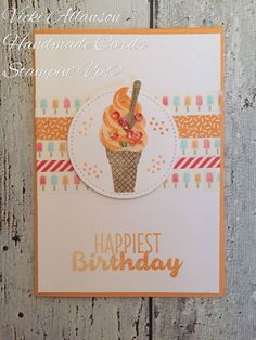 Stampin' Up! Cool Treats by ‎Vicki Allanson on FB Handmade Birthday Cards, Greeting Cards Handmade, Washi Tape Cards, Washi Tapes, Karten Diy, Cute Cards, Cards Diy, Copics, Paper Cards