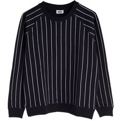 Pipe Sweater ❤ liked on Polyvore featuring tops, sweaters, shirts, clothes - outerwear, sleeve shirt, raglan sleeve shirts, pinstripe shirt, cuff sleeve shirt and raglan sweater