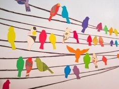 Birds on a Wire Wall Decals Birds for the wall. Could be vinyl decals, but what if it was thin rope or fabric strips and fabric birds?Birds for the wall. Could be vinyl decals, but what if it was thin rope or fabric strips and fabric birds? Art For Kids, Crafts For Kids, Classe D'art, Paper Art, Paper Crafts, Bird Crafts, Cut Paper, Ecole Art, Art Club
