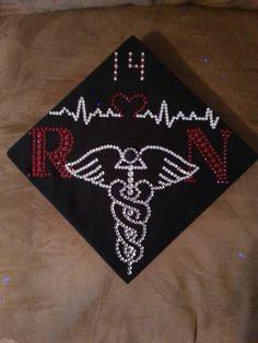 My decorated graduation cap :) registered nurse Nursing School Graduation, Graduation Day, Graduation Photos, Graduate School, Graduation Cap Designs, Graduation Cap Decoration, Nurse Party, Cap Decorations, Grad Cap