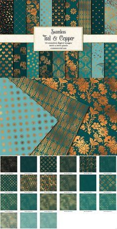 These unique backgrounds feature a variety of patterns in deep teal turquoise and copper foil. Perfect for fabrics, wedding props, baby showers, scrapbooking, invitations or web backgrounds. Each image measures 12 x 12 inches (30.5 x 30.5 cm) and has 300 dpi resolution for the best quality printing. The copper will not print as real foil. Standard License $5