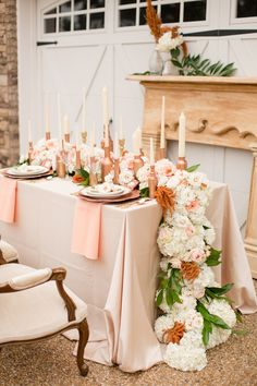 Rose Gold Wedding Inspiration - long and low flowing flora for an opulent feel