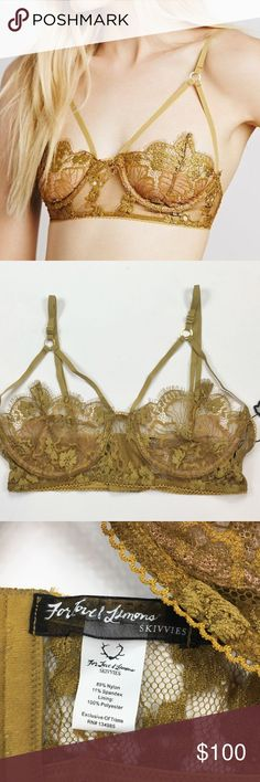 "NWT Small For Love and Lemons RARE Honeysuckle Bra Brand New With Tags For Love and Lemons ""Honeysuckle"" Bra Size: Small Gold floral underwire scrappy bra. Features see-through cups and a triangle strappy detailing. Adjustable shoulder straps. Hook and eye closure in the back for an easy on and off.  Measurements: 7in (17.75cm) shoulder to armpit 12.5in (31.75cm) across the chest material  10.5in (26.75cm) across the waistband  Material Content: 89% Nylon & 11% Spandex For Love And Lemons…"