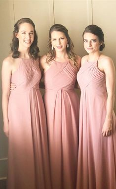 elegant pink long bridesmaid dresses, cheap chiffon wedding party dresses for guest, modest bridesmaid dresses with pleats #dressywomen #wedding #bridesmaids #longdresses