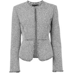 Alexander Wang Tweed Peplum Jacket (1,520 SGD) ❤ liked on Polyvore featuring outerwear, jackets, grey, gray tweed jacket, grey tweed jacket, grey jacket, alexander wang jacket and gray jacket