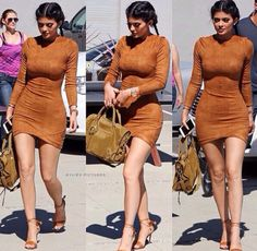 Kylie Long Sleeve Suede Bodycon Dress
