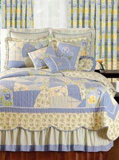 Homemade Quilt - Yellow & Blue
