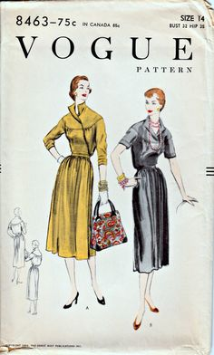 1950's Vogue Wrap Dress Pattern  VOGUE 8463  by ShellMakeYouFlip, $36.50