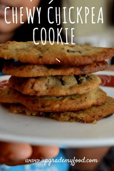 Chewy Chickpea Chocolate Chip Cookie Chewy Chickpeas Chocolate Chip Cookies recipe – gluten free and delicious Chickpea Chocolate Chip Cookies, Chickpea Cookies, Chickpea Brownies, Chickpea Cookie Dough, Chocolate Cookies, Vegan Sweets, Vegan Desserts, Dessert Recipes, Heart Healthy Desserts