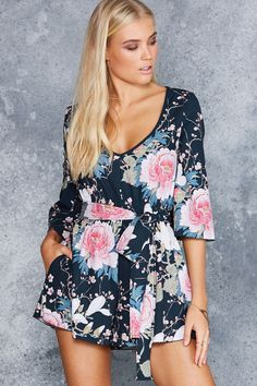 Koson Flowers Kimono Playsuit - LIMITED ($120AUD) by BlackMilk Clothing
