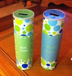 Recycled pringles cans for Box Top and Pull Tab containers!