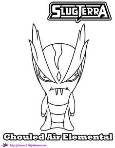 Ghoul Air Elemental Coloring Page from Slugterra: Return of the Elementals | SKGaleana