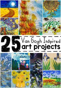 TEACH A LITTLE ART HISTORY! http://www.playideas.com/25-van-gogh-inspired-art-projects-kids/