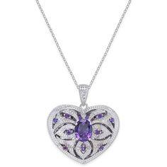 Amethyst (2 ct. t.w.) & Diamond (1/10 ct. t.w.) Heart Locket Pendant... (3.920 DKK) ❤ liked on Polyvore featuring jewelry, pendants, amethyst, sterling silver heart jewelry, locket pendant necklace, heart pendant necklace, sterling silver locket and amethyst jewelry