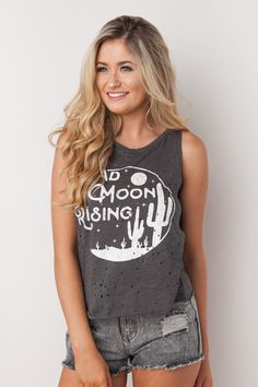 Bad Moon Rising Graphic Tank in Charcoal