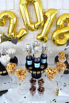Get ready to ring in the New Year with a fabulous New Year's Party like this one!! See more party ideas and share yours at CatchMyParty.com #newyearseve #newyear #2018