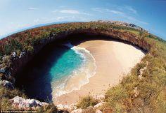 An aerial view of the Hidden Beach, located on the Marieta Islands in Peurto Vallarta - Mexico