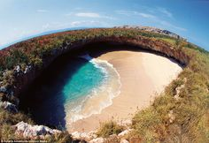 The worlds most idyllic bomb site: An aerial view of the Hidden Beach, located on the Marieta Islands in Peurto Vallarta