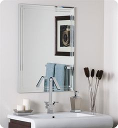 Very stylish and very medern tri-beveled mirror. This will fit right in with the bathroom decor for the town home! I love it. Guess I will be ordering before long. What do ya'll think about the mirror?
