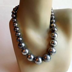 Vintage Sterling Silver Graduated Ball Bead Necklace  Native