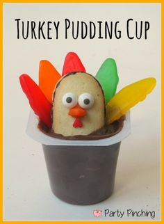 Cute Fun Food Friday turkey pudding cups, kids thanksgiving ideas, easy thanksgiving dessert ideas, kids thanksgiving dessert ideas